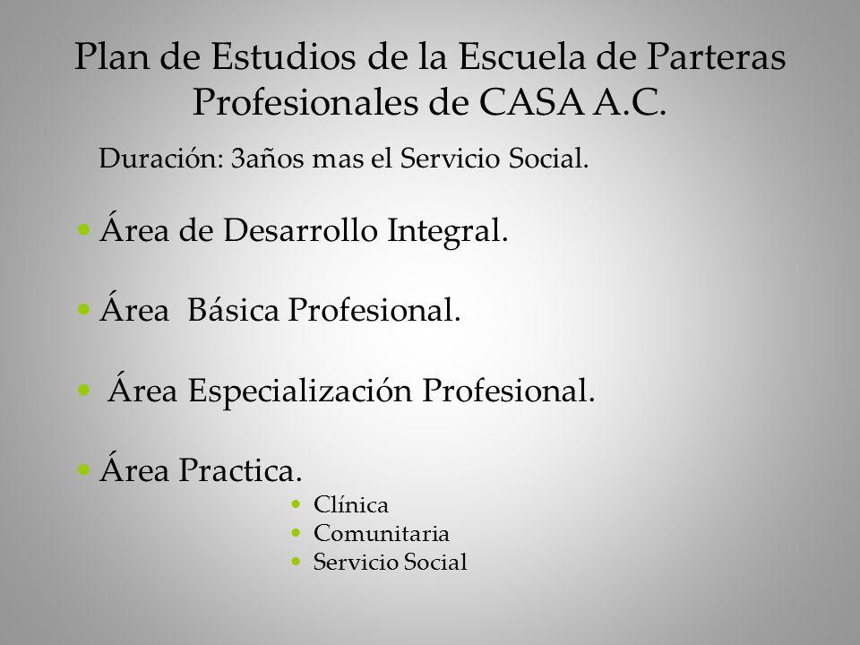 Duración: 3años mas el Servicio Social.Área de Desarrollo Integral.