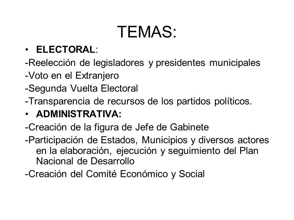 TEMAS: ELECTORAL: -Reelección de legisladores y presidentes municipales -Voto en el Extranjero -Segunda Vuelta Electoral -Transparencia de recursos de los partidos políticos.