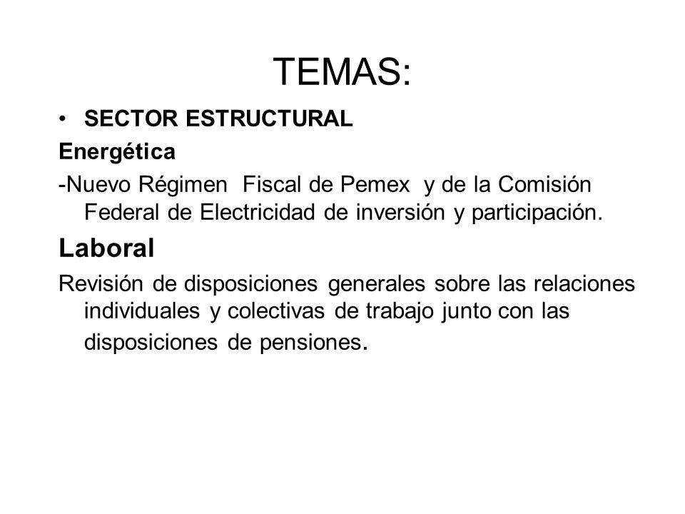 TEMAS: SECTOR ESTRUCTURAL Energética -Nuevo Régimen Fiscal de Pemex y de la Comisión Federal de Electricidad de inversión y participación.