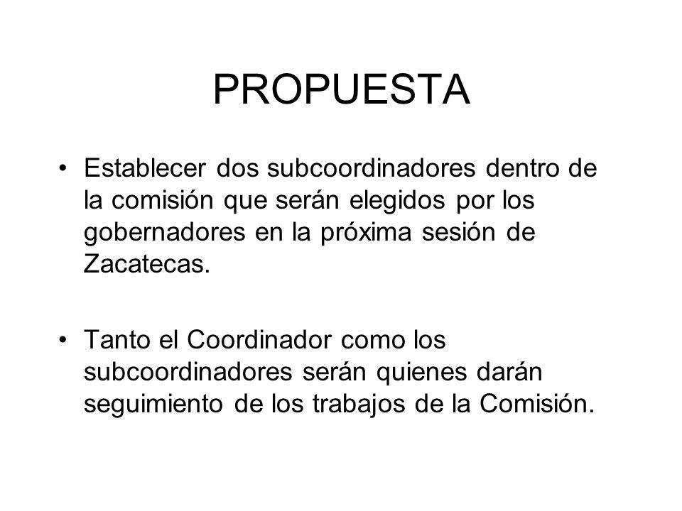PROPUESTA Establecer dos subcoordinadores dentro de la comisión que serán elegidos por los gobernadores en la próxima sesión de Zacatecas.