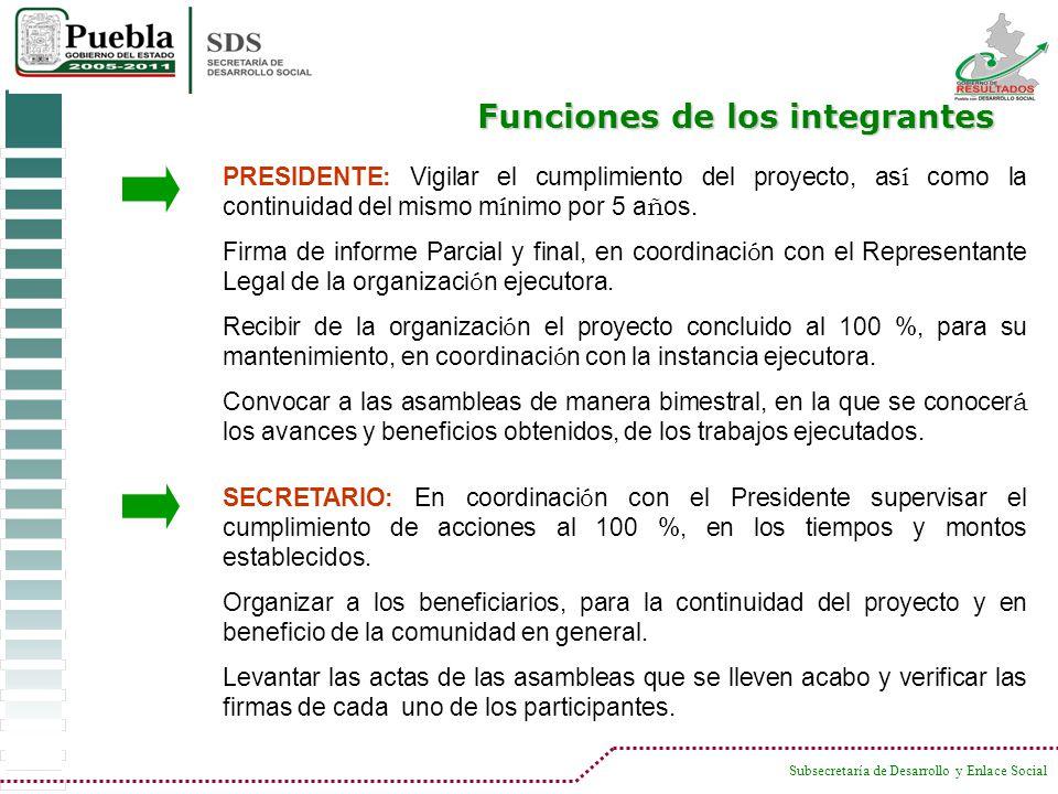 Subsecretaría de Desarrollo y Enlace Social Funciones de los integrantes PRESIDENTE: Vigilar el cumplimiento del proyecto, as í como la continuidad de