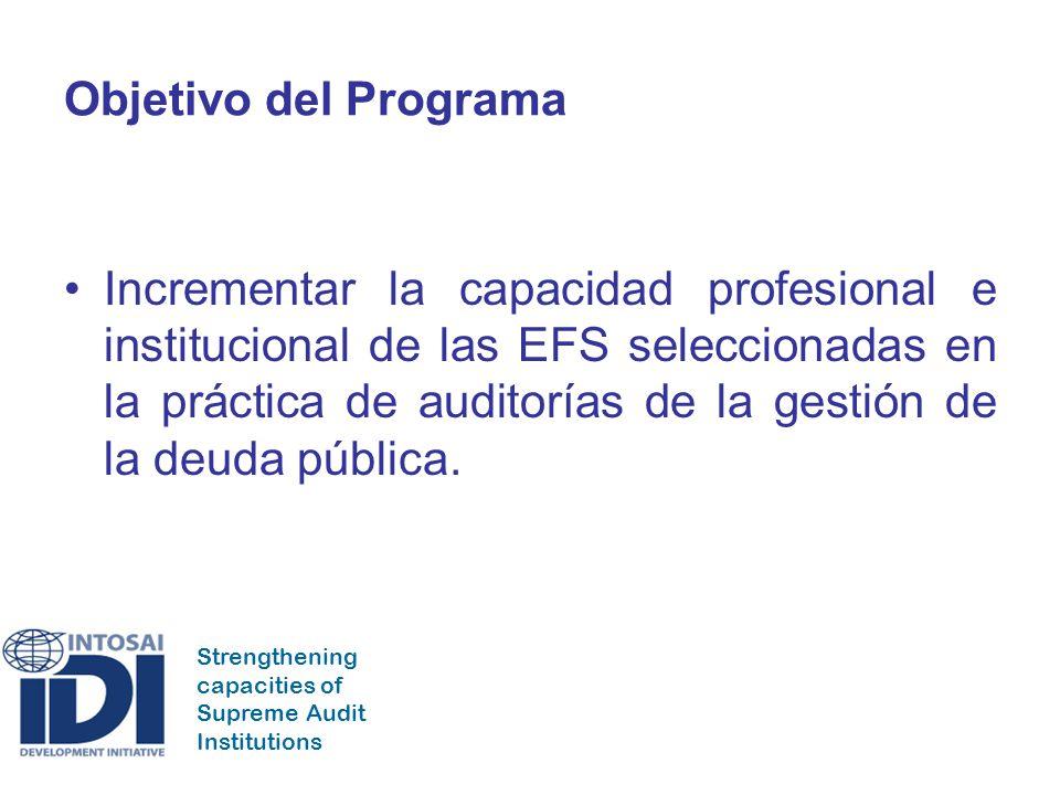 Strengthening capacities of Supreme Audit Institutions Objetivo del Programa Incrementar la capacidad profesional e institucional de las EFS seleccionadas en la práctica de auditorías de la gestión de la deuda pública.