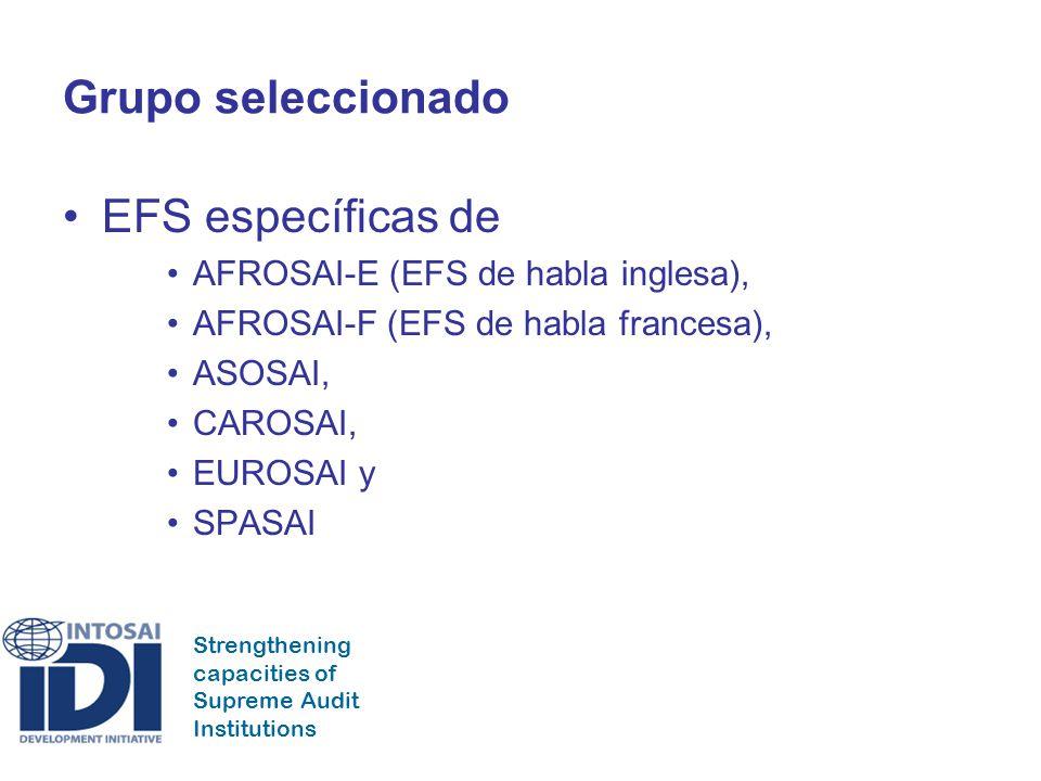Strengthening capacities of Supreme Audit Institutions Grupo seleccionado EFS específicas de AFROSAI-E (EFS de habla inglesa), AFROSAI-F (EFS de habla francesa), ASOSAI, CAROSAI, EUROSAI y SPASAI
