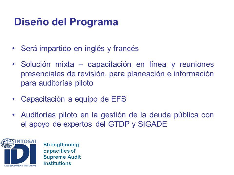 Strengthening capacities of Supreme Audit Institutions Diseño del Programa Será impartido en inglés y francés Solución mixta – capacitación en línea y reuniones presenciales de revisión, para planeación e información para auditorías piloto Capacitación a equipo de EFS Auditorías piloto en la gestión de la deuda pública con el apoyo de expertos del GTDP y SIGADE