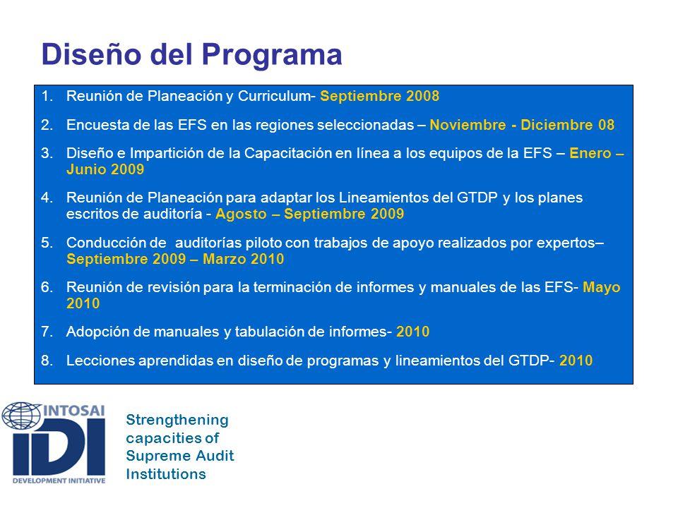Strengthening capacities of Supreme Audit Institutions Diseño del Programa 1.Reunión de Planeación y Curriculum- Septiembre 2008 2.Encuesta de las EFS en las regiones seleccionadas – Noviembre - Diciembre 08 3.Diseño e Impartición de la Capacitación en línea a los equipos de la EFS – Enero – Junio 2009 4.Reunión de Planeación para adaptar los Lineamientos del GTDP y los planes escritos de auditoría - Agosto – Septiembre 2009 5.Conducción de auditorías piloto con trabajos de apoyo realizados por expertos– Septiembre 2009 – Marzo 2010 6.Reunión de revisión para la terminación de informes y manuales de las EFS- Mayo 2010 7.Adopción de manuales y tabulación de informes- 2010 8.Lecciones aprendidas en diseño de programas y lineamientos del GTDP- 2010
