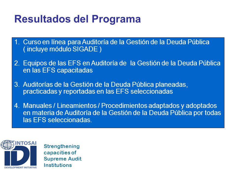 Strengthening capacities of Supreme Audit Institutions Consecuencias del Programa 1.Institucionalización de un sistema para la práctica de auditorías en de la gestión de la deuda pública en la EFS, en intervalos regulares.