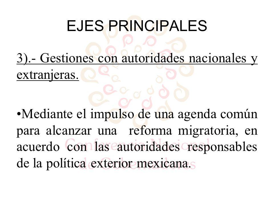 3).- Gestiones con autoridades nacionales y extranjeras.