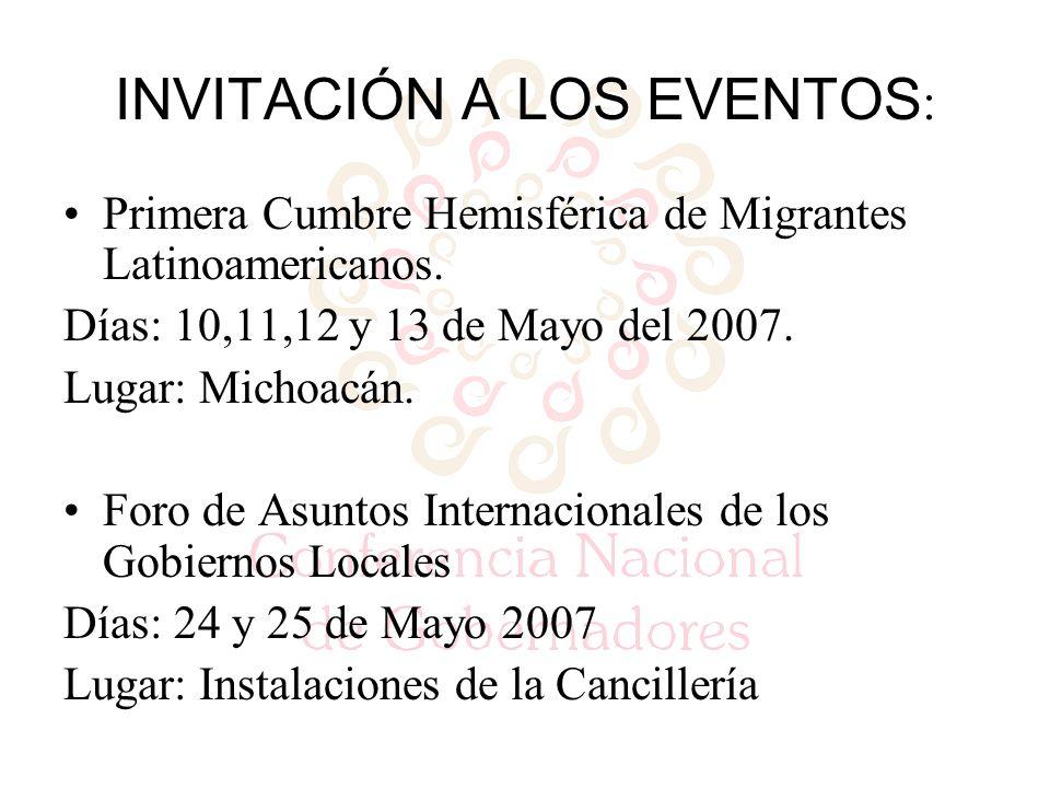 INVITACIÓN A LOS EVENTOS : Primera Cumbre Hemisférica de Migrantes Latinoamericanos.