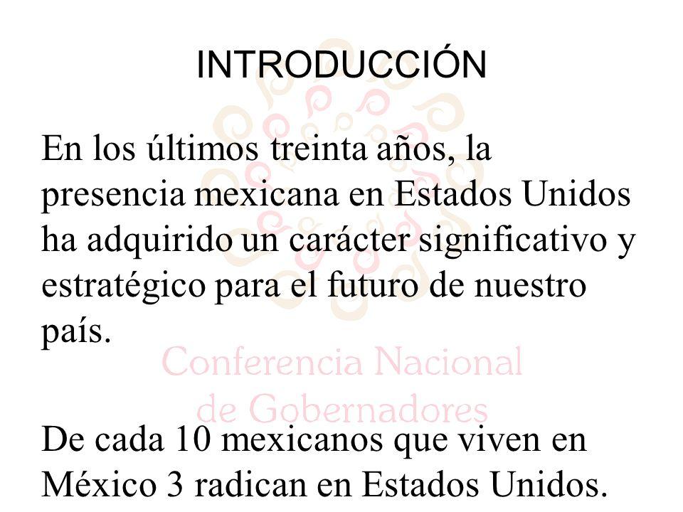 INTRODUCCIÓN En los últimos treinta años, la presencia mexicana en Estados Unidos ha adquirido un carácter significativo y estratégico para el futuro de nuestro país.