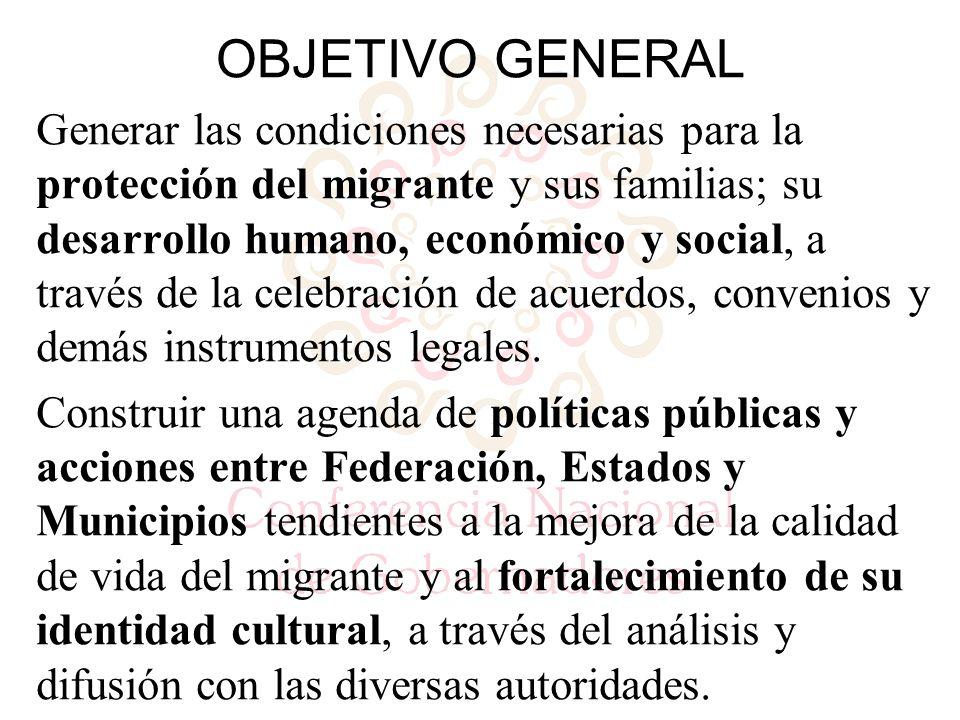 OBJETIVO GENERAL Generar las condiciones necesarias para la protección del migrante y sus familias; su desarrollo humano, económico y social, a través de la celebración de acuerdos, convenios y demás instrumentos legales.