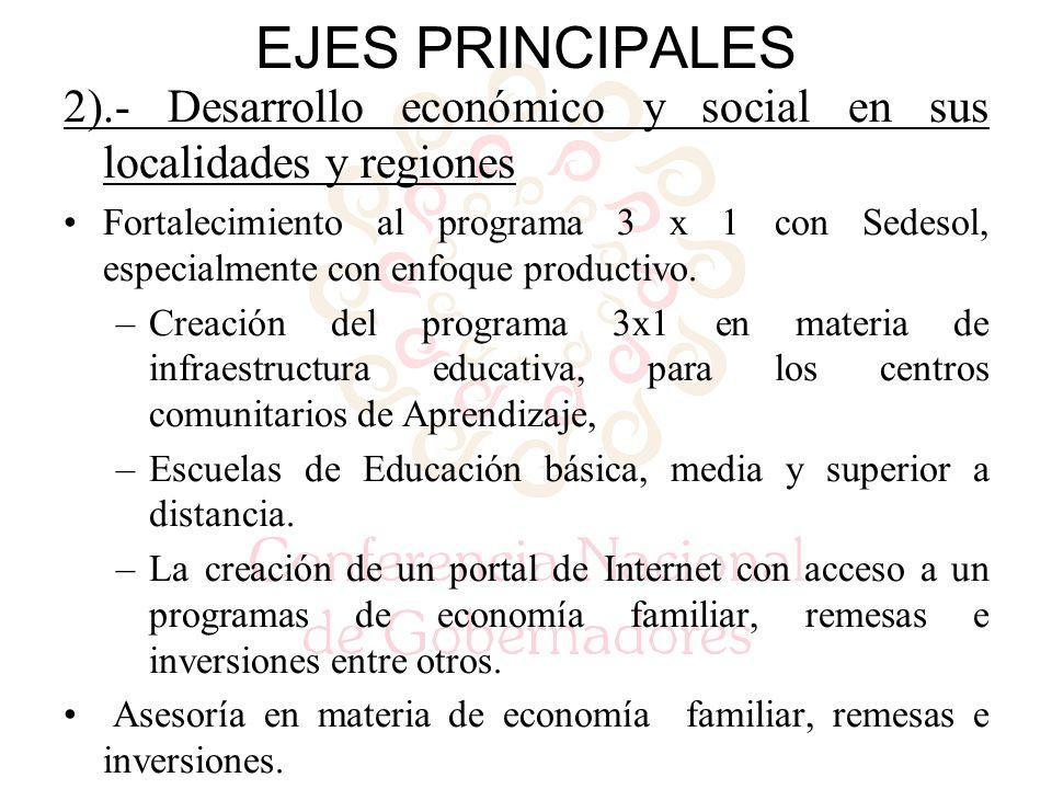 2).- Desarrollo económico y social en sus localidades y regiones Fortalecimiento al programa 3 x 1 con Sedesol, especialmente con enfoque productivo.