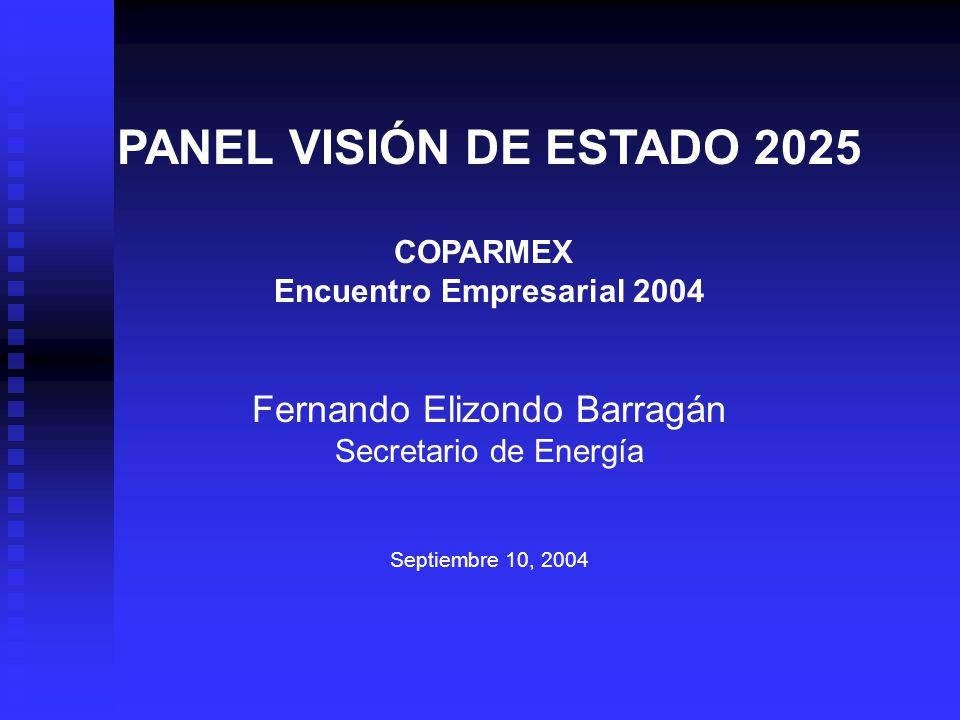 PANEL VISIÓN DE ESTADO 2025 COPARMEX Encuentro Empresarial 2004 Fernando Elizondo Barragán Secretario de Energía Septiembre 10, 2004