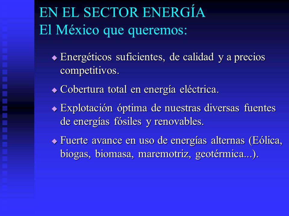 EN EL SECTOR ENERGÍA El México que queremos: Energéticos suficientes, de calidad y a precios competitivos.