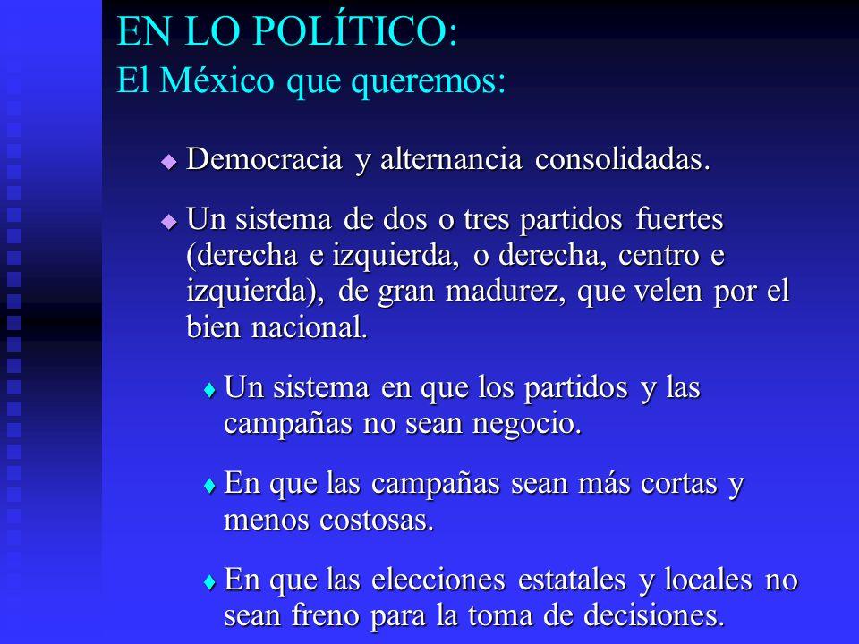 EN LO POLÍTICO: El México que queremos: Democracia y alternancia consolidadas.