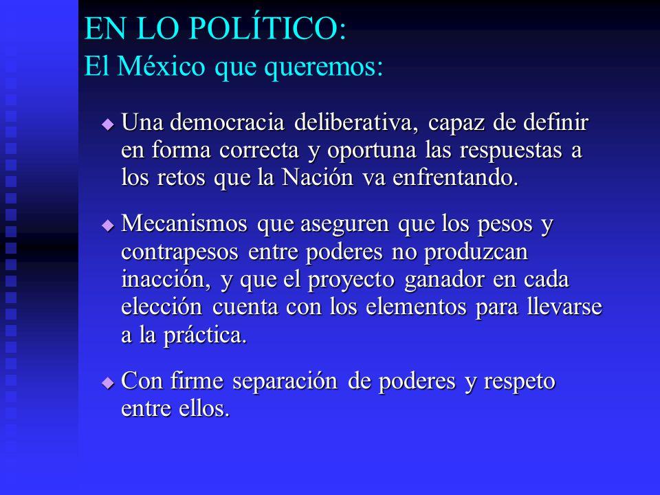 EN LO POLÍTICO: El México que queremos: Una democracia deliberativa, capaz de definir en forma correcta y oportuna las respuestas a los retos que la Nación va enfrentando.