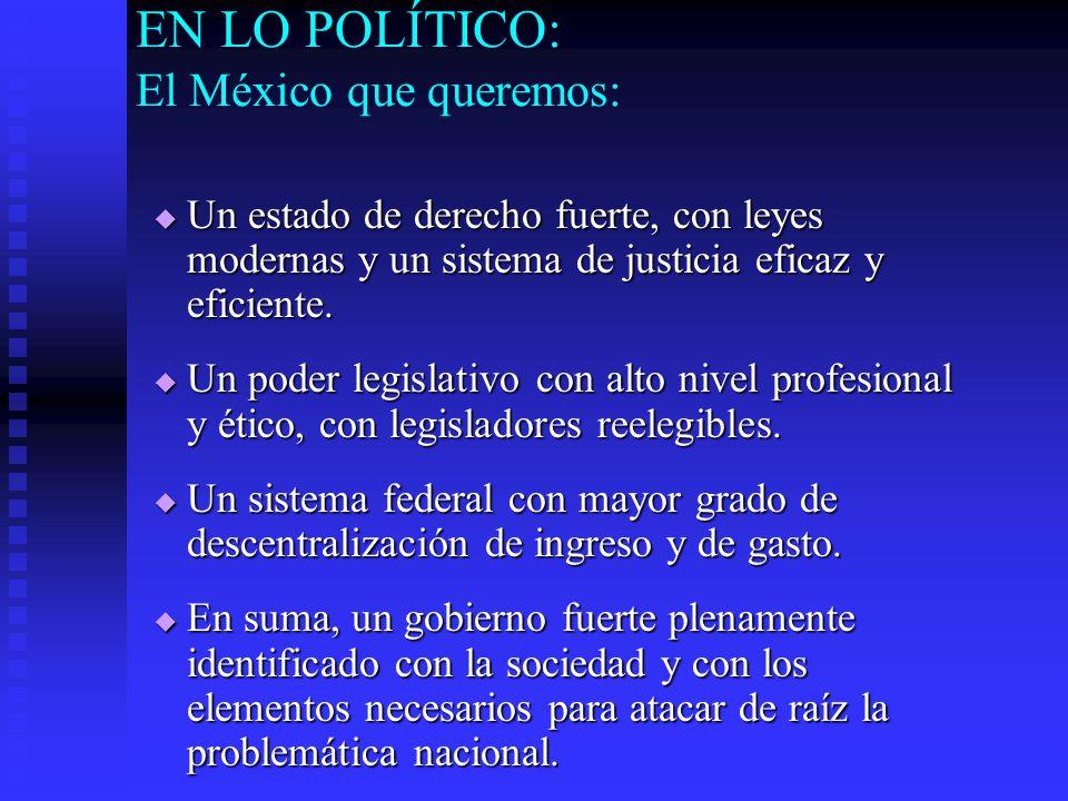 EN LO POLÍTICO: El México que queremos: Un estado de derecho fuerte, con leyes modernas y un sistema de justicia eficaz y eficiente.