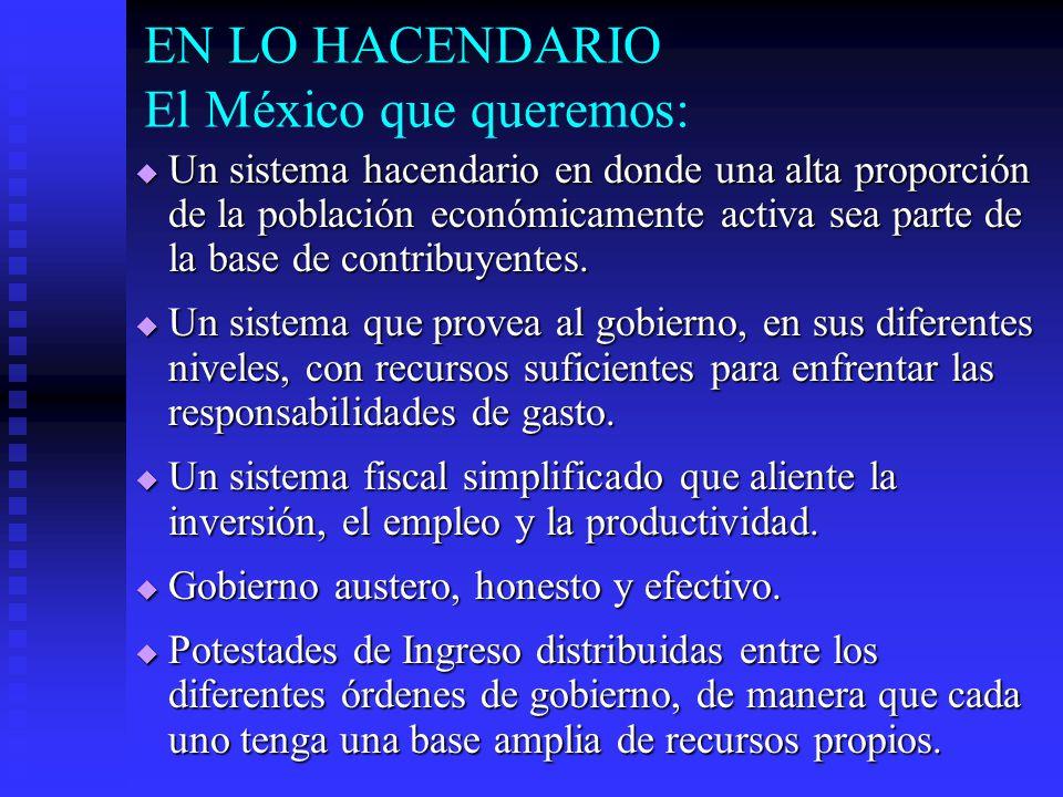EN LO HACENDARIO El México que queremos: Un sistema hacendario en donde una alta proporción de la población económicamente activa sea parte de la base de contribuyentes.