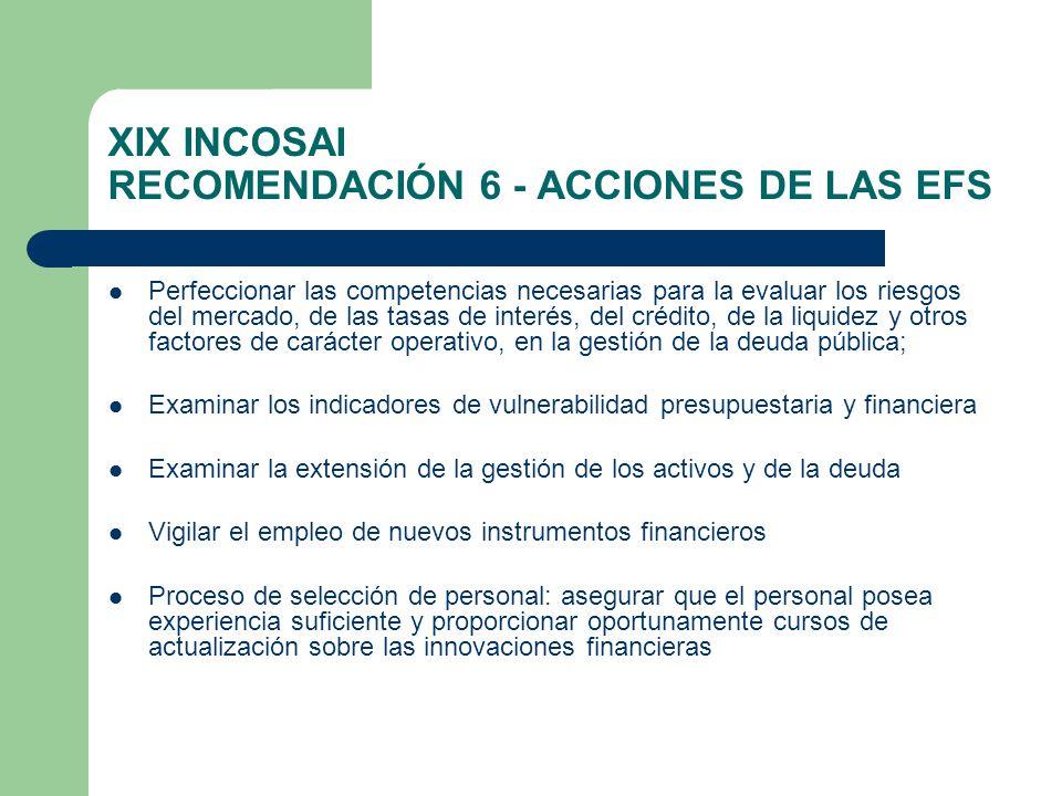 XIX INCOSAI RECOMENDACIÓN 6 - ACCIONES DE LAS EFS Perfeccionar las competencias necesarias para la evaluar los riesgos del mercado, de las tasas de interés, del crédito, de la liquidez y otros factores de carácter operativo, en la gestión de la deuda pública; Examinar los indicadores de vulnerabilidad presupuestaria y financiera Examinar la extensión de la gestión de los activos y de la deuda Vigilar el empleo de nuevos instrumentos financieros Proceso de selección de personal: asegurar que el personal posea experiencia suficiente y proporcionar oportunamente cursos de actualización sobre las innovaciones financieras
