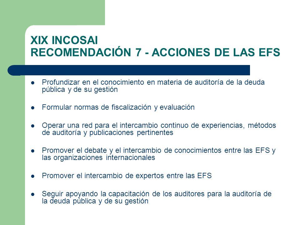 XIX INCOSAI RECOMENDACIÓN 7 - ACCIONES DE LAS EFS Profundizar en el conocimiento en materia de auditoría de la deuda pública y de su gestión Formular normas de fiscalización y evaluación Operar una red para el intercambio continuo de experiencias, métodos de auditoría y publicaciones pertinentes Promover el debate y el intercambio de conocimientos entre las EFS y las organizaciones internacionales Promover el intercambio de expertos entre las EFS Seguir apoyando la capacitación de los auditores para la auditoría de la deuda pública y de su gestión