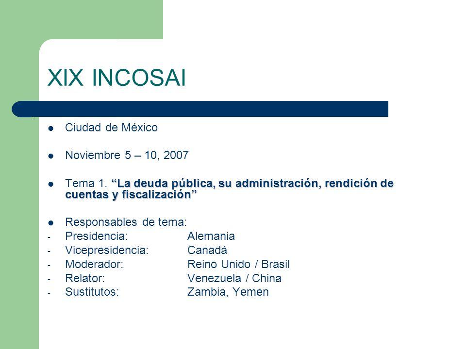 XIX INCOSAI Ciudad de México Noviembre 5 – 10, 2007 La deuda pública, su administración, rendición de cuentas y fiscalización Tema 1.