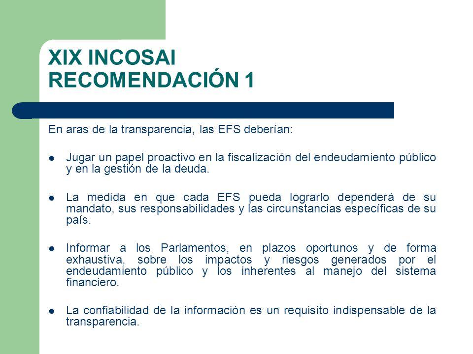XIX INCOSAI RECOMENDACIÓN 1 En aras de la transparencia, las EFS deberían: Jugar un papel proactivo en la fiscalización del endeudamiento público y en la gestión de la deuda.