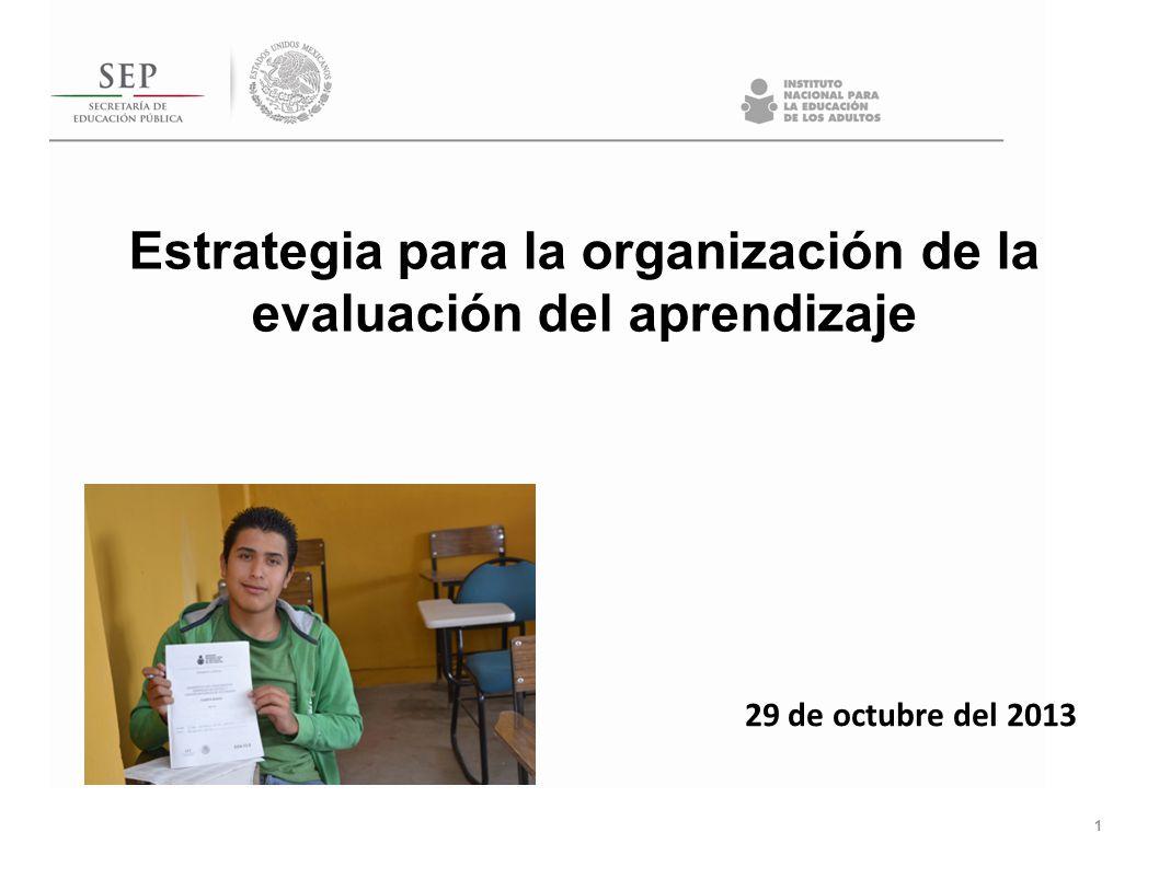 Estrategia para la organización de la evaluación del aprendizaje 1 29 de octubre del 2013