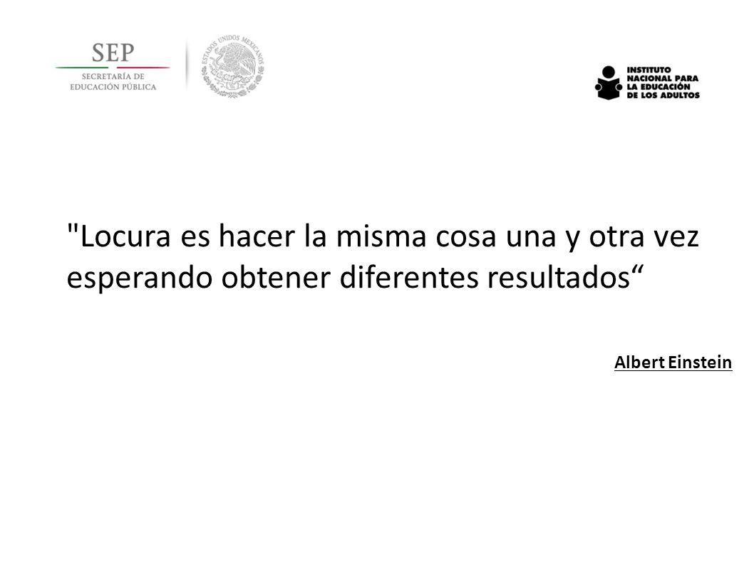 Locura es hacer la misma cosa una y otra vez esperando obtener diferentes resultados Albert Einstein