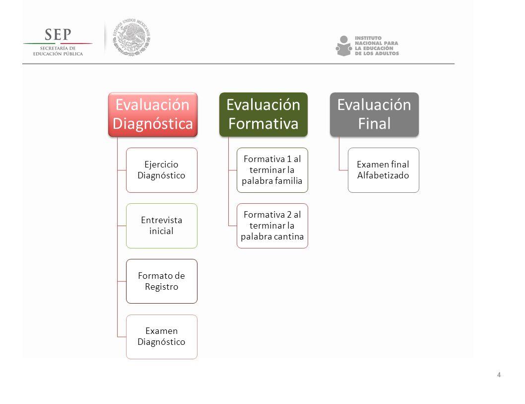 4 Evaluación Diagnóstica Ejercicio Diagnóstico Entrevista inicial Formato de Registro Examen Diagnóstico Evaluación Formativa Formativa 1 al terminar