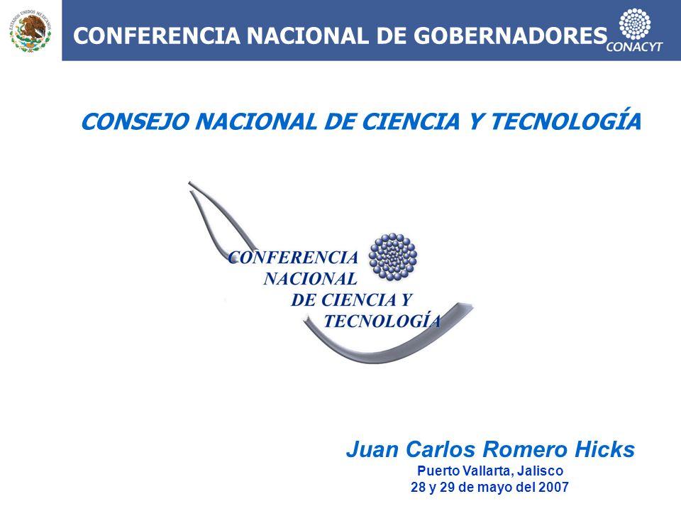 CONFERENCIA NACIONAL DE GOBERNADORES Juan Carlos Romero Hicks Puerto Vallarta, Jalisco 28 y 29 de mayo del 2007 CONSEJO NACIONAL DE CIENCIA Y TECNOLOG