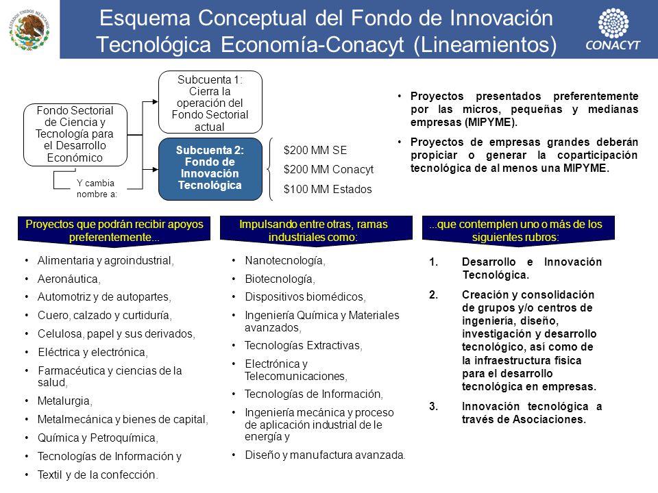 Esquema Conceptual del Fondo de Innovación Tecnológica Economía-Conacyt (Lineamientos) Fondo Sectorial de Ciencia y Tecnología para el Desarrollo Econ