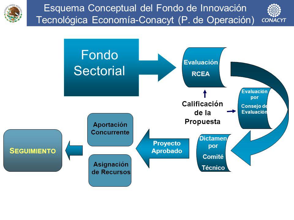 Esquema Conceptual del Fondo de Innovación Tecnológica Economía-Conacyt (P. de Operación) Evaluación RCEA Calificación de la Propuesta Dictamen por Co