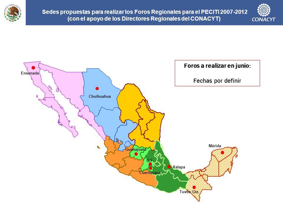 Sedes propuestas para realizar los Foros Regionales para el PECITI 2007-2012 (con el apoyo de los Directores Regionales del CONACYT) Tuxtla Gtz. D.F.