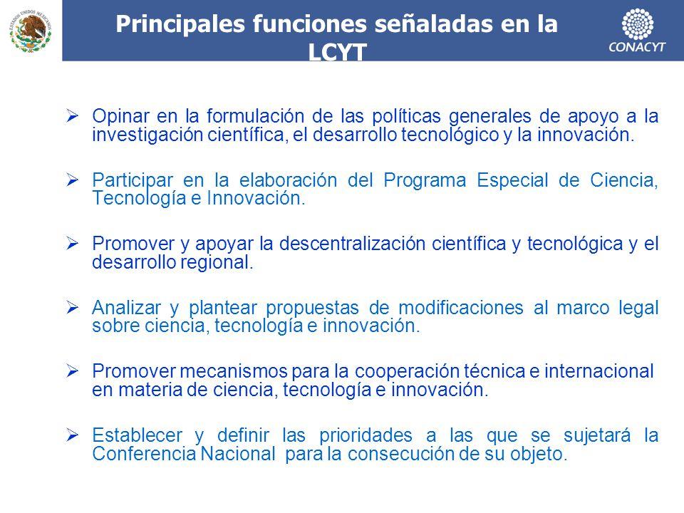 Principales funciones señaladas en la LCYT Opinar en la formulación de las políticas generales de apoyo a la investigación científica, el desarrollo tecnológico y la innovación.