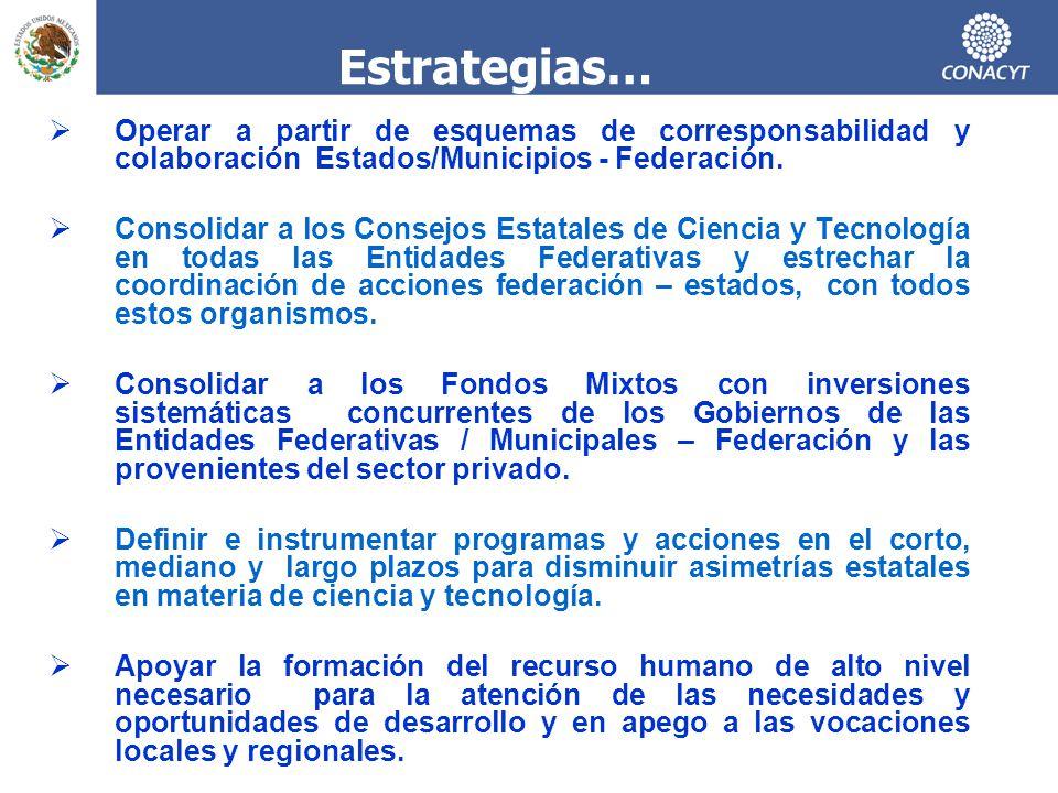 Estrategias… Operar a partir de esquemas de corresponsabilidad y colaboración Estados/Municipios - Federación.