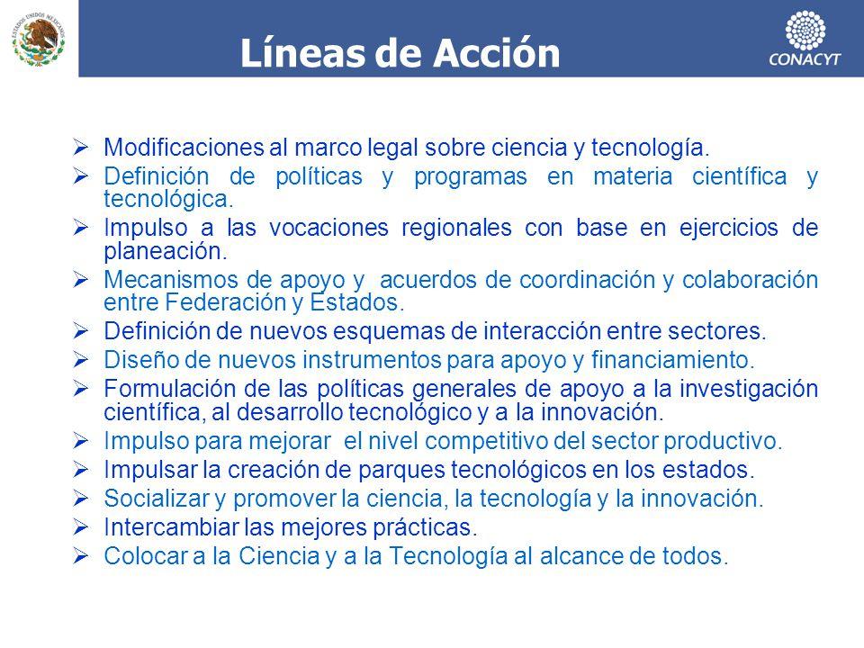 Modificaciones al marco legal sobre ciencia y tecnología. Definición de políticas y programas en materia científica y tecnológica. Impulso a las vocac