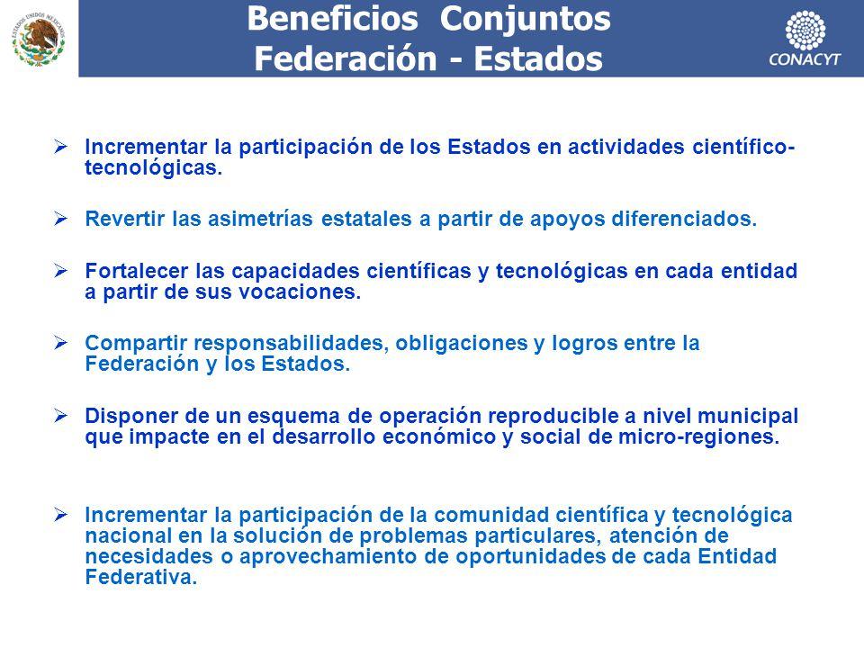 Beneficios Conjuntos Federación - Estados Incrementar la participación de los Estados en actividades científico- tecnológicas. Revertir las asimetrías