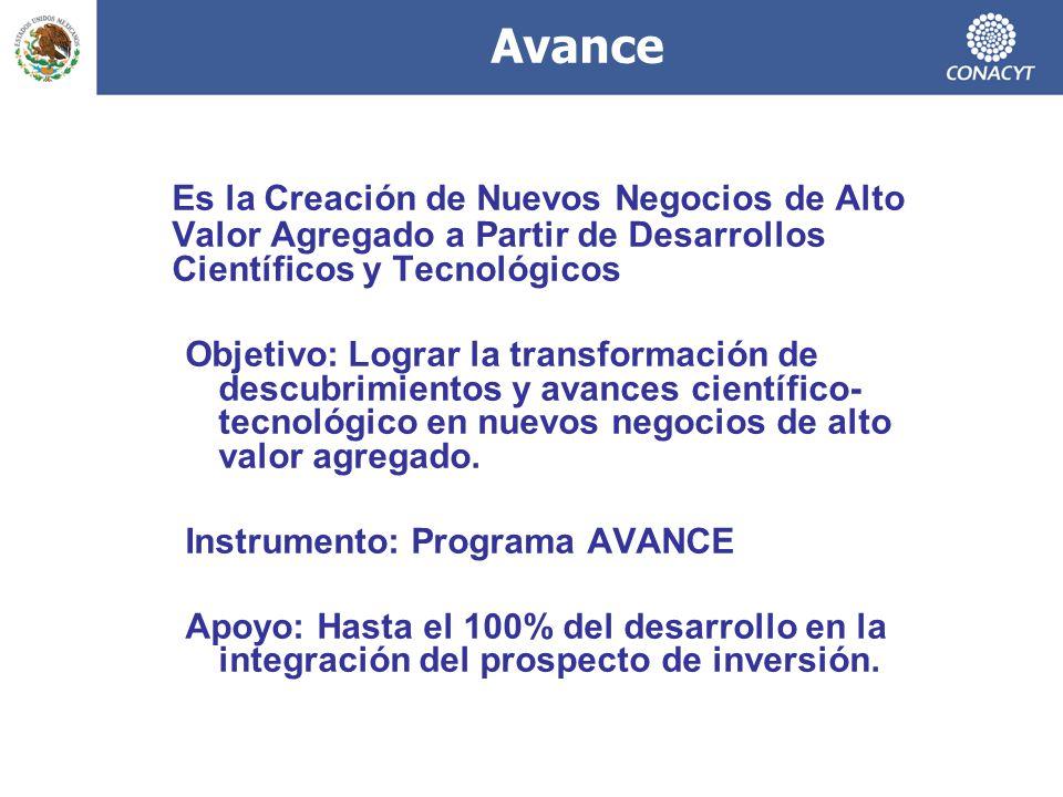 Es la Creación de Nuevos Negocios de Alto Valor Agregado a Partir de Desarrollos Científicos y Tecnológicos Objetivo: Lograr la transformación de descubrimientos y avances científico- tecnológico en nuevos negocios de alto valor agregado.