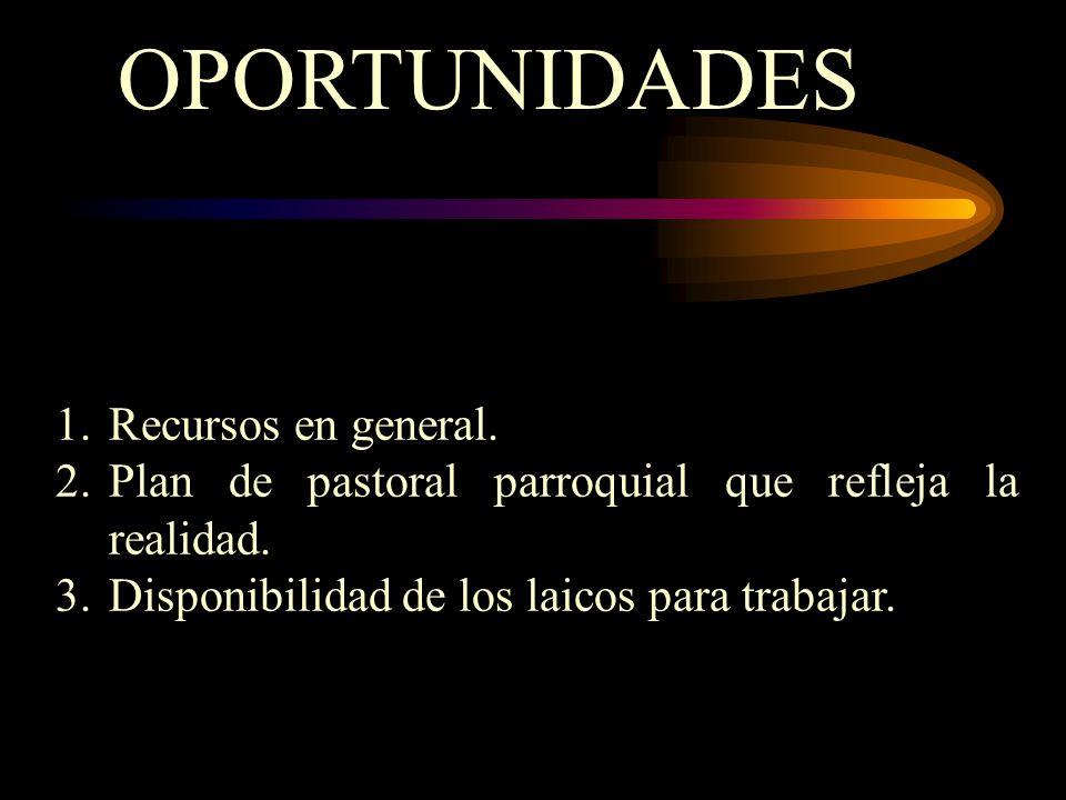OPORTUNIDADES 1.Recursos en general. 2.Plan de pastoral parroquial que refleja la realidad.