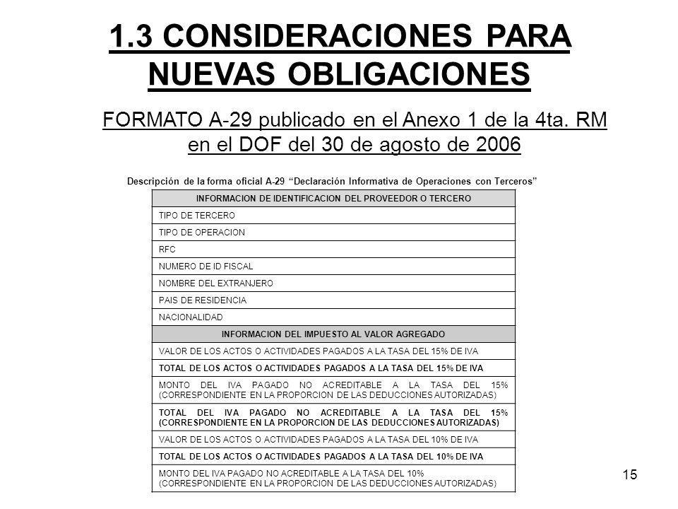 15 Descripción de la forma oficial A-29 Declaración Informativa de Operaciones con Terceros INFORMACION DE IDENTIFICACION DEL PROVEEDOR O TERCERO TIPO