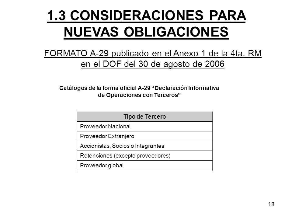 18 FORMATO A-29 publicado en el Anexo 1 de la 4ta. RM en el DOF del 30 de agosto de 2006 1.3 CONSIDERACIONES PARA NUEVAS OBLIGACIONES Catálogos de la