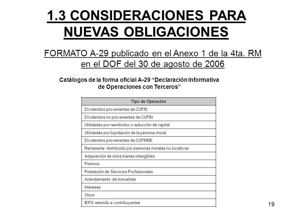19 FORMATO A-29 publicado en el Anexo 1 de la 4ta. RM en el DOF del 30 de agosto de 2006 1.3 CONSIDERACIONES PARA NUEVAS OBLIGACIONES Catálogos de la