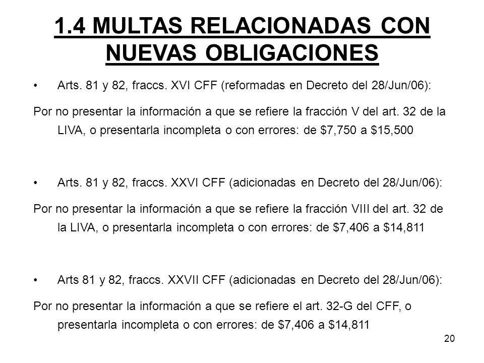 20 1.4 MULTAS RELACIONADAS CON NUEVAS OBLIGACIONES Arts. 81 y 82, fraccs. XVI CFF (reformadas en Decreto del 28/Jun/06): Por no presentar la informaci