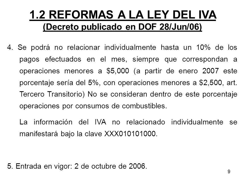 9 1.2 REFORMAS A LA LEY DEL IVA (Decreto publicado en DOF 28/Jun/06) 4. Se podrá no relacionar individualmente hasta un 10% de los pagos efectuados en