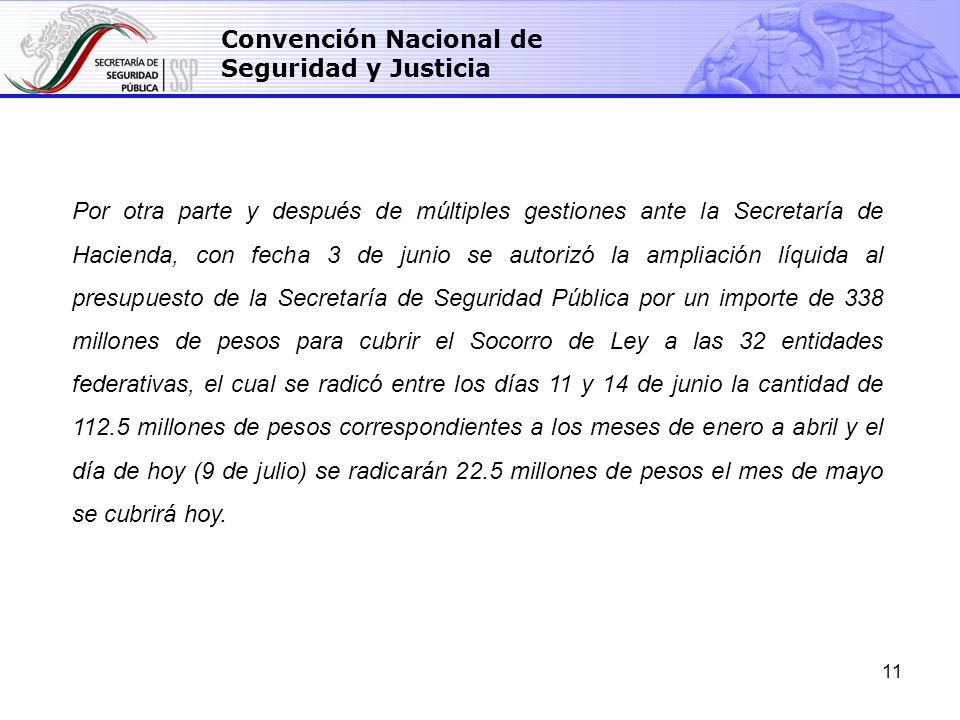 11 Convención Nacional de Seguridad y Justicia Por otra parte y después de múltiples gestiones ante la Secretaría de Hacienda, con fecha 3 de junio se