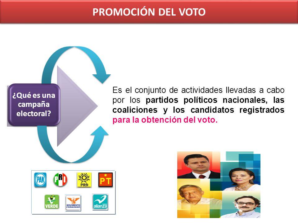 PROMOCIÓN DEL VOTO Actos de campaña Reuniones públicas, asambleas, marchas y en general aquellos actos en que los candidatos o voceros de los partidos políticos se dirigen al electorado para promover sus candidaturas.