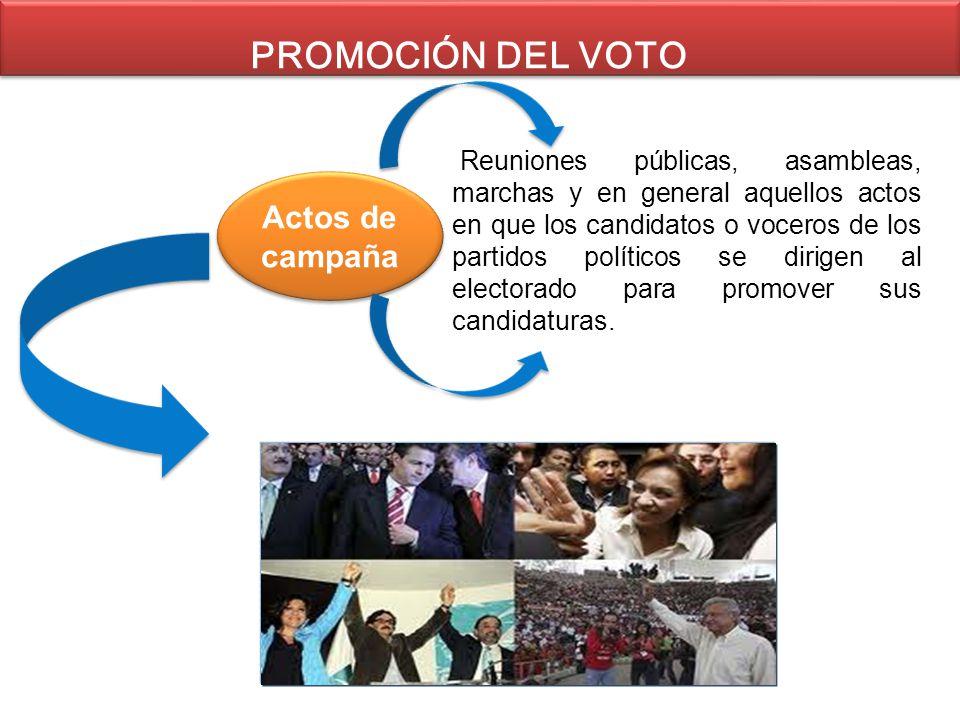 PROMOCIÓN DEL VOTO Actos de campaña Reuniones públicas, asambleas, marchas y en general aquellos actos en que los candidatos o voceros de los partidos