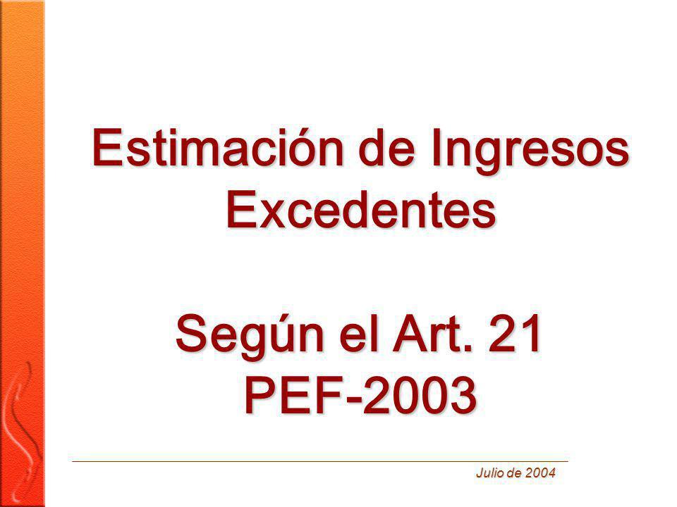 Estimación de Ingresos Excedentes Según el Art. 21 PEF-2003 Julio de 2004