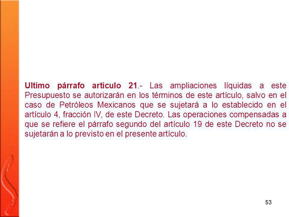 53 Ultimo párrafo articulo 21.- Las ampliaciones líquidas a este Presupuesto se autorizarán en los términos de este artículo, salvo en el caso de Petróleos Mexicanos que se sujetará a lo establecido en el artículo 4, fracción IV, de este Decreto.