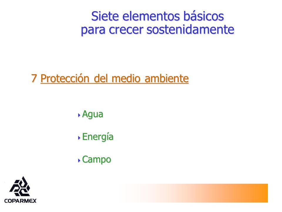 7 Protección del medio ambiente Agua Agua Energía Energía Campo Campo Siete elementos básicos para crecer sostenidamente