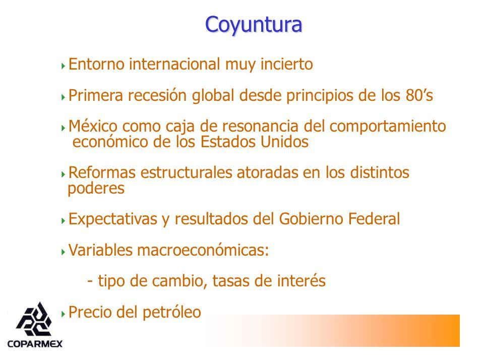 Entorno internacional muy incierto Primera recesión global desde principios de los 80s México como caja de resonancia del comportamiento económico de